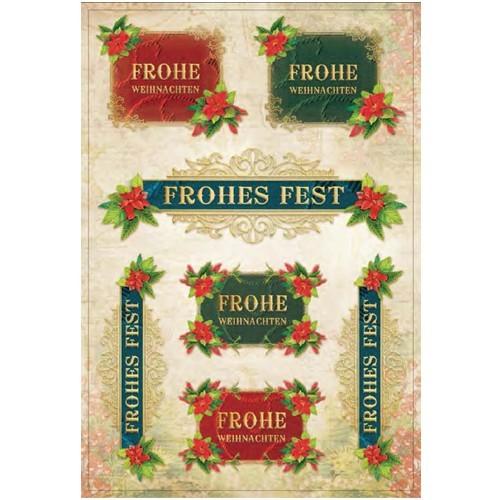 3-D Stickerbogen, Weihnachtsgruß, 12,5 x 18,5 cm