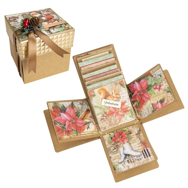 Kraftpapier-Überraschungsbox, mit Album, 12,5cm x 12,5cm x 12,5cm