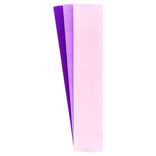 Krepp-Papiere, 50cm x 200cm, rosa, flieder, violett, 3 Stück