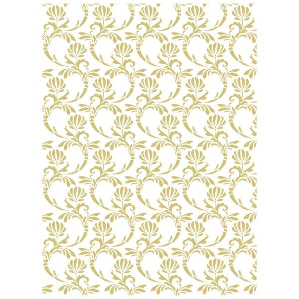 Metallic-Bügeltransfer, Hintergrund, Florale Ornamente, 25cm x 34cm, gold glänzend