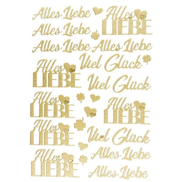 """3-D Sticker, Deluxe Schriften """"Alles Liebe"""", verschiedene Größen, selbstklebend, gold"""