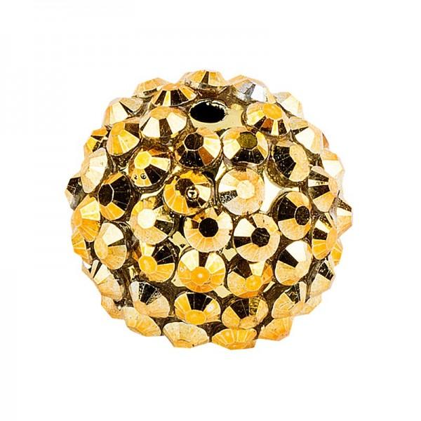 Kristall-Perlen, Ø 10mm, gold, 10 Stück