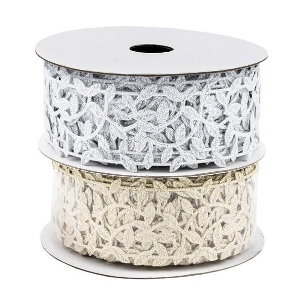 Deko-Bänder, Blätterranke, 3cm breit, 3m lang, auf Rolle, silber, gold, 2 Stück