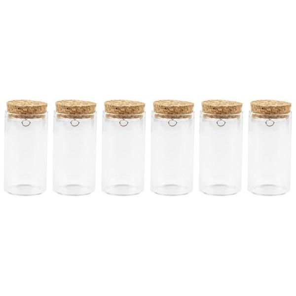Zylindergläser mit Korkverschluss, 7cm hoch, außen: Ø 3,7cm, innen: Ø 3,2cm, mit Öse, 6 Stück
