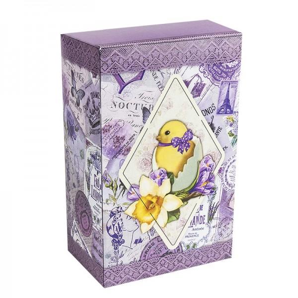 Geschenkbox Kaffee, Vintage, 18cm x 11cm x 7cm, violett