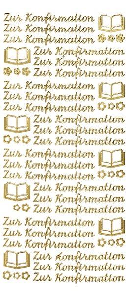 Sticker, Schrift, Konfirmation, gold