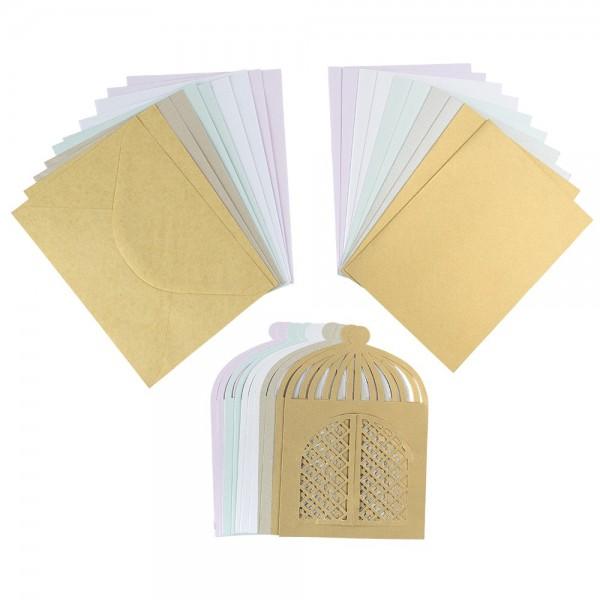 Pavillon Perlmutt Grußkarten, verschiedene Farben, inkl. Umschläge, 10 Stück