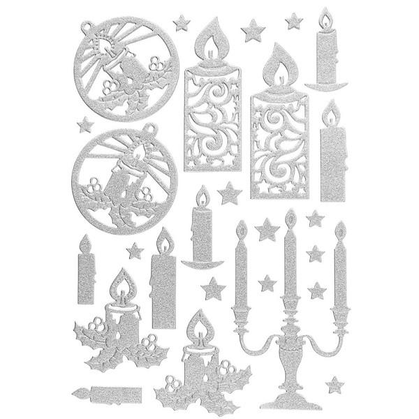 3-D Sticker, Deluxe Kerzen, verschiedene Größen, selbstklebend, silber