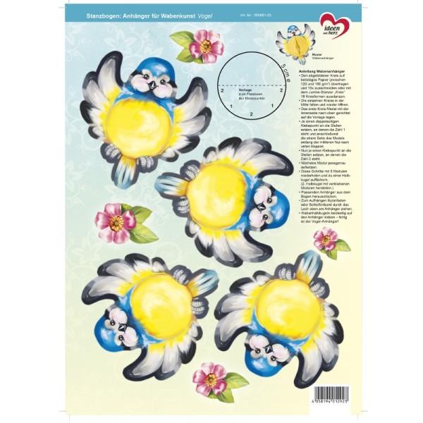 Stanzbogen, Anhänger für Wabenkunst, DIN A4, Vogel