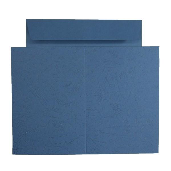 10er Grußkarten-Set, Lederprägung, C6, inkl. Umschläge, blau