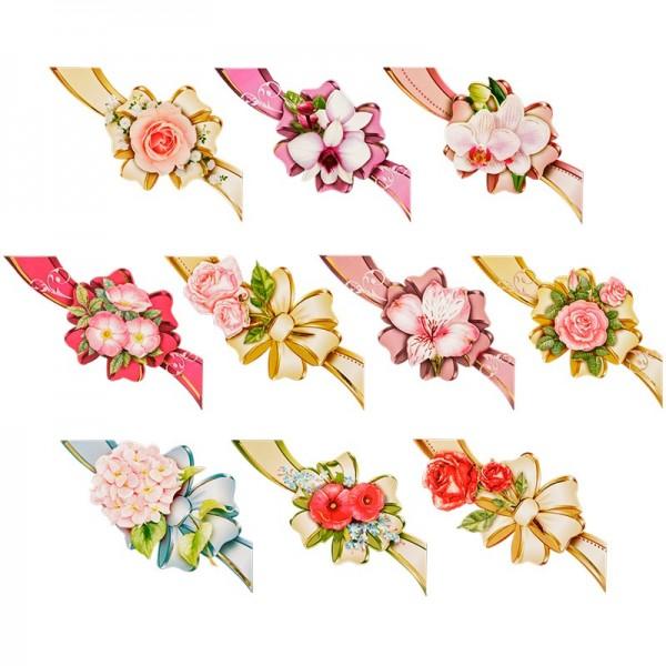 3-D Motive, Blüten & Schleifen (mit Schwung), 9-11,5cm, 10 Motive