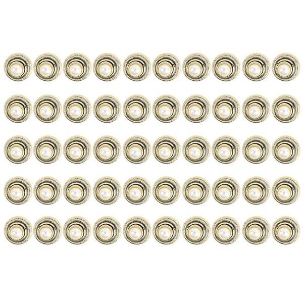 Premium Schmucksteine, Perlen-Zierstein 3, Ø 2,3cm, hellgold, perlmutt, 50 Stück