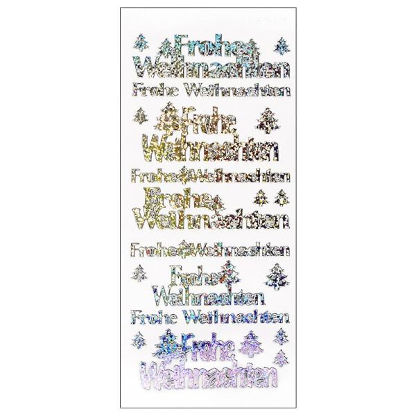 Sticker, Frohe Weihnachten, Holografie-Folie, silber