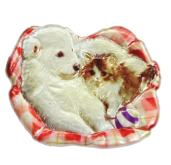 Wachsornament Hund & Katze 3, farbig, geprägt, 6 x 7 cm