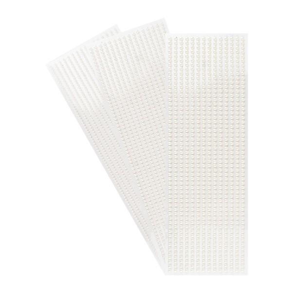 Halbperlen-Bordüren, 10cm x 30cm, rund: Ø 3mm, Ø 4mm, Ø 5mm, selbstklebend, naturweiß, 3 Bogen