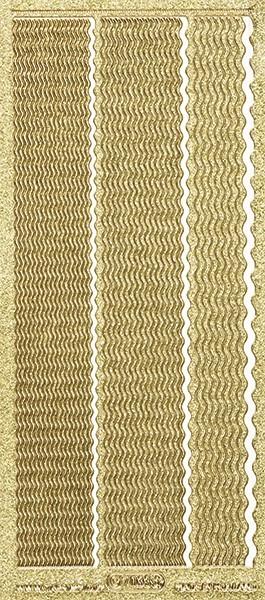 Microglitter-Sticker, Wellen-Linien, 3 Breiten, gold