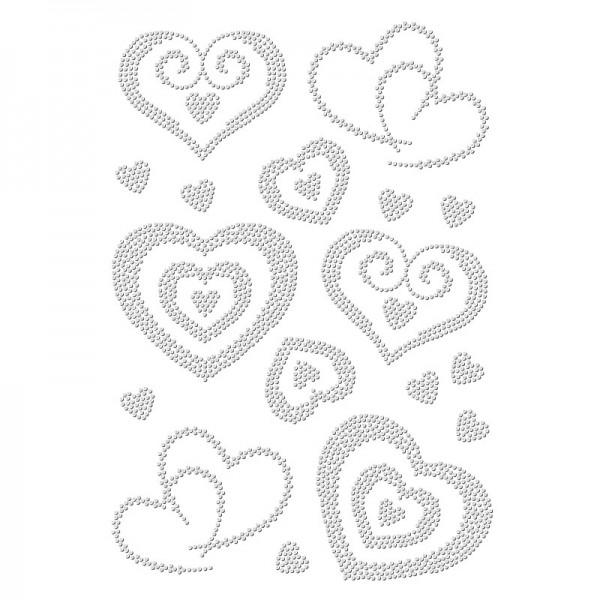 Bügelstrass-Design, DIN A4, einfarbig, klar, Herzen