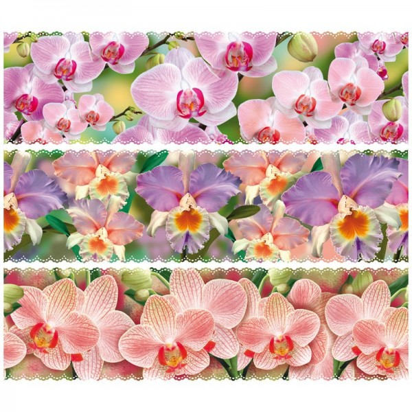 "Zauberfolien ""Orchideen"", Schrumpffolien für Ø6cm, 6 cm hoch, 6 Stück"