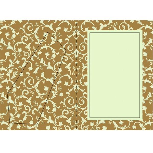 Bilderrahmen-Karte, Blütenornamentik I, B6, beige/braun