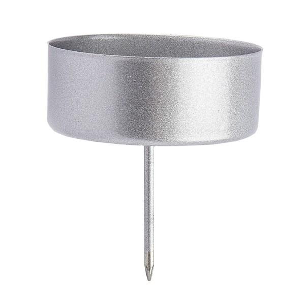 Teelichthalter zum Stecken, Ø 4,2cm, silber mattiert, 4 Stück