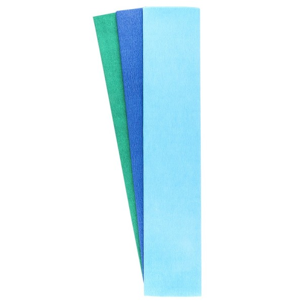 Krepp-Papiere, 50cm x 200cm, himmelblau, blau, aquagrün, 3 Stück