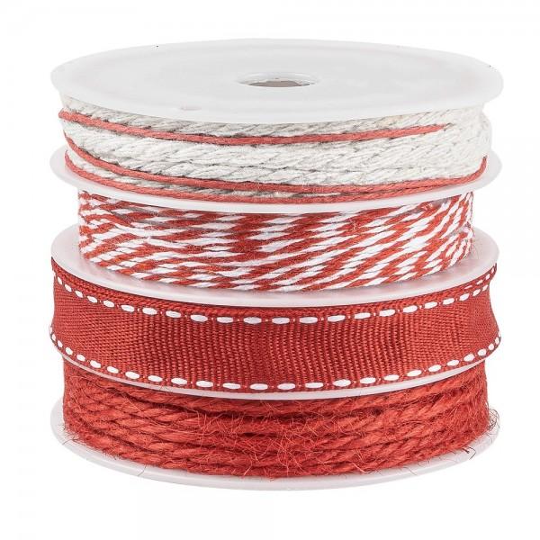 Geschenkband Mix, 1mm bis 10mm breit, versch. Designs, rot, 4 Rollen