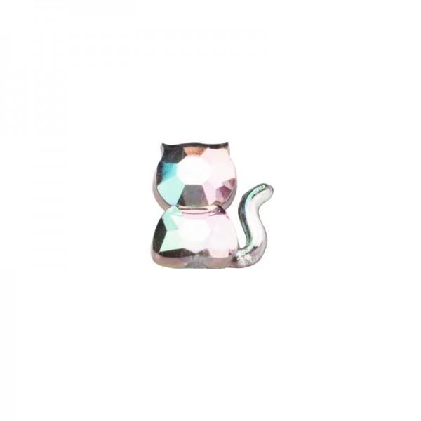 Glitzersteine, Kätzchen, 8 mm, 50 Stück, klar-irisierend
