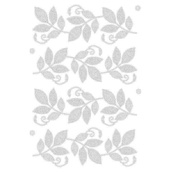 Bügelstrass-Design, DIN A4, klar, Blätter-Ranken
