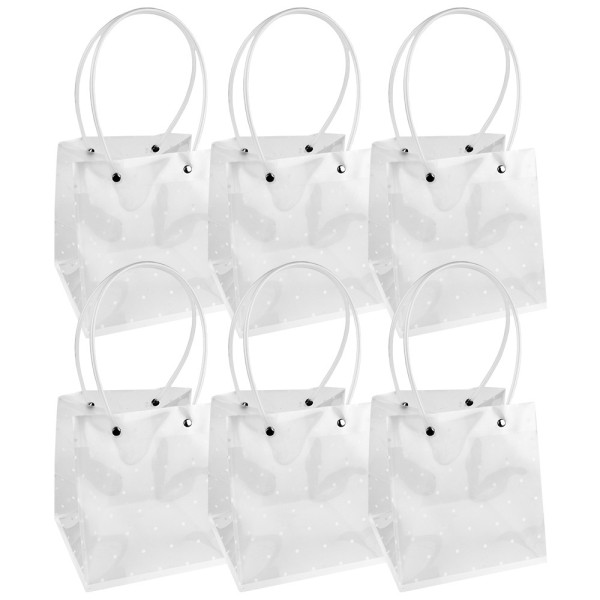 Geschenktaschen mit Henkel, 16cm x 15cm, 17cm hoch, transluzent-weiß mit weißen Punkten, 6 Stück