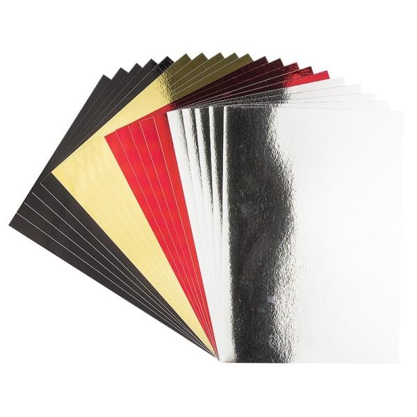 Spiegel-Karton, DIN A4, selbstklebend, 200 g/m², 4 verschiedene Farben, 20 Bogen