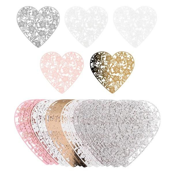 Laser-Kartenaufleger, Herz mit Blumen, 14cm x 13,5cm, 220 g/m², 5 Farbtöne, 20 Stück