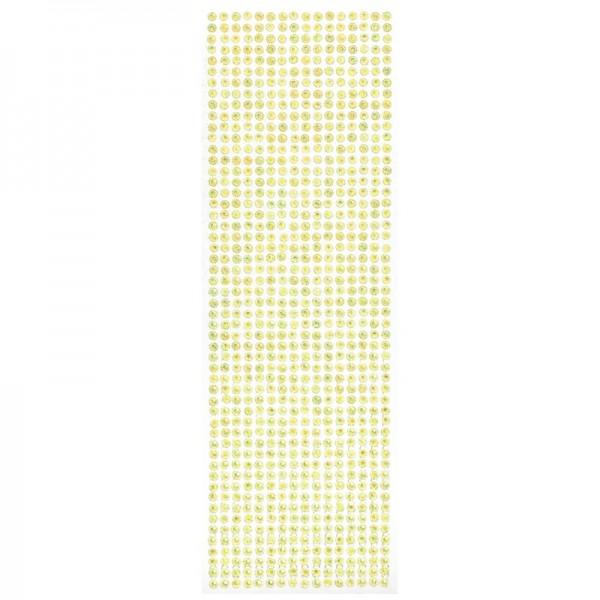 Schmuckstein-Bordüren, selbstklebend, facettiert, irisierend, Ø5mm, 29cm, 16 Stück, gelb