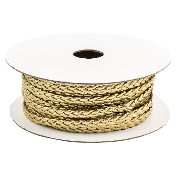 Deko-Band, geflochten, 5m lang, 0,3cm breit, hellgold