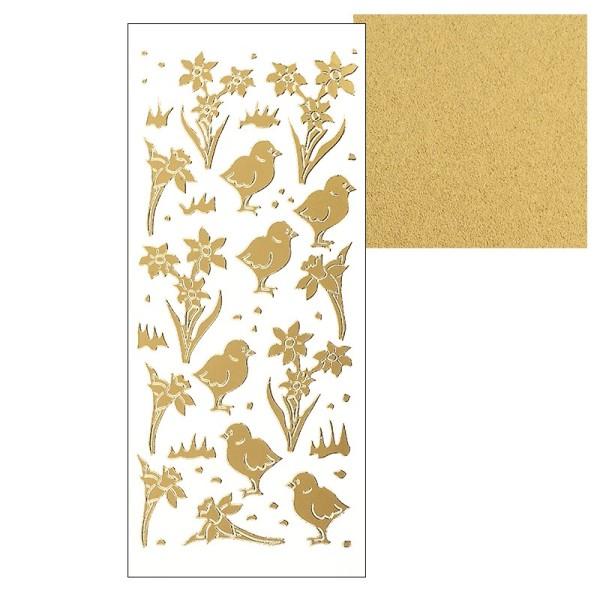 Sticker, Küken und Narzissen, gold