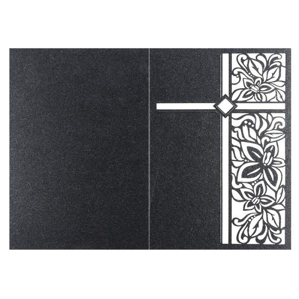 Laser-Grußkarten, Kreuz, B6, anthrazit, inkl. Einleger & Umschläge, 5 Stück