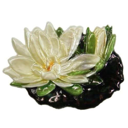 Wachsornament, Seerose, farbig, geprägt, 8,5x6,5cm, Design 2
