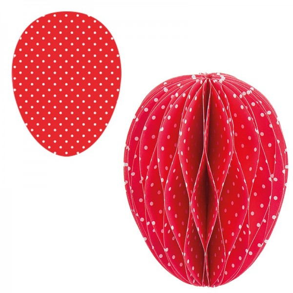 Waben-Stanzteile, Osterei, rot/weiß gepunktet, 5,5cm x 7,5cm, 100 Stück