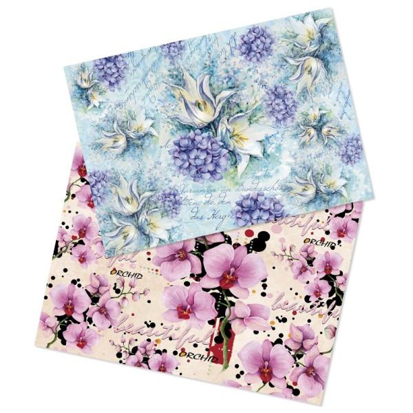 Reispapiere, Blüten 2, DIN A4, 2 Designs