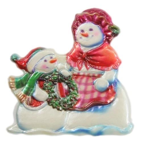 Wachsornament, Schneemänner mit Kranz, farbig, geprägt, 7,5x7,5cm