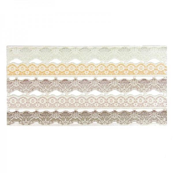 Wachs-Bordüren auf Platte, Spitze, 5 Reihen