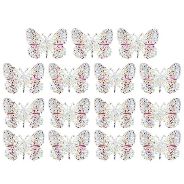 Kristallkunst-Schmucksteine, Schmetterling 1, 2,4cm x 3,2cm, transparent, klar, irisierend, 15 Stück