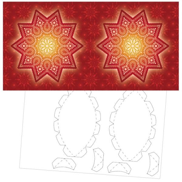 Prickel-Karte, Stern, inkl. Böden & Ecken, 16cm x 16cm