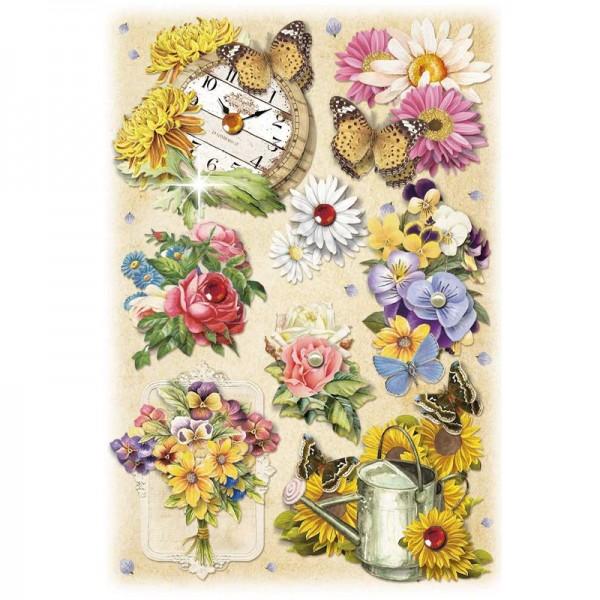3-D Stickerbogen, Gartenblumen 1, 12,7 x 18,8 cm