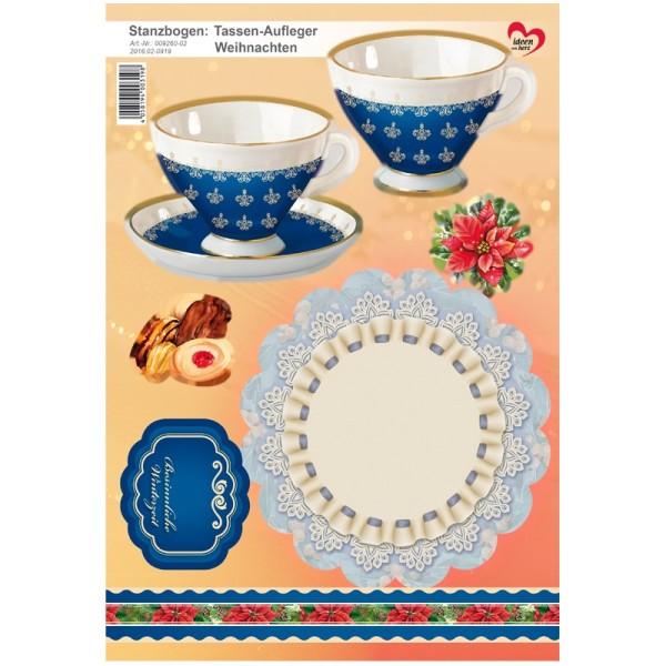 Stanzbogen, Tassen-Aufleger Weihnachten, DIN A4, blau