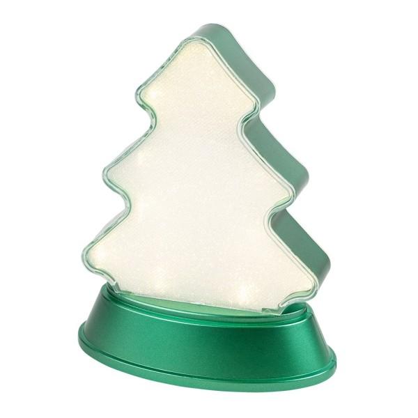 LED-Relaxleuchte, Tannenbaum, 14,5cm x 12cm, Diamant-Lichteffekt-Folie, 13 LEDs, warmweiß, grün