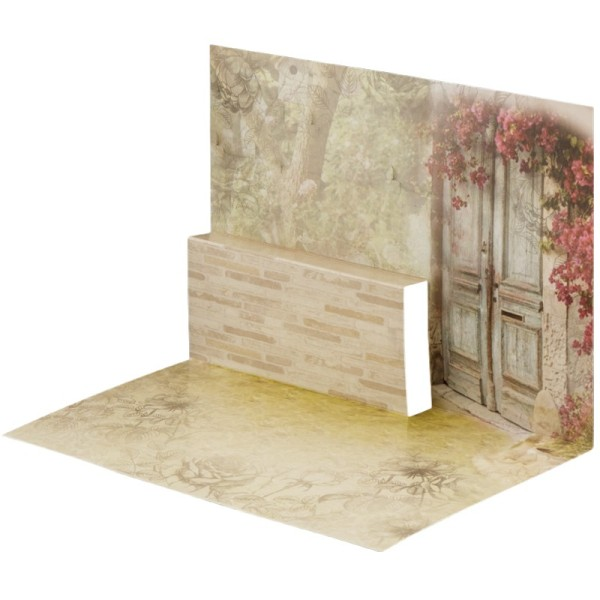 Pop-Up-Grußkarten-Einleger, gefaltet 11 x 15,5 cm, Garten/Tür