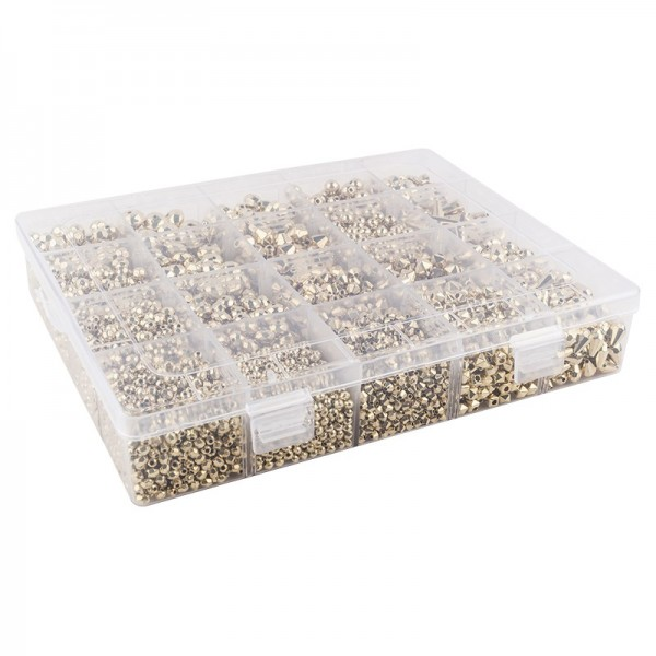 Perlen-Vielfalt in Kunststoff-Box, verschiedene Perlensorten, 500g, metallic, hellgold