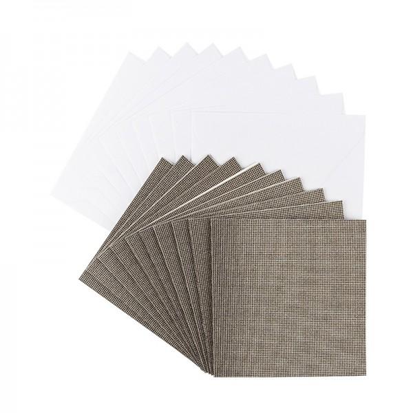 Grußkarten Glitzer-Leinen, 11cm x 11cm, taupe, inkl. Umschläge, 10 Stück