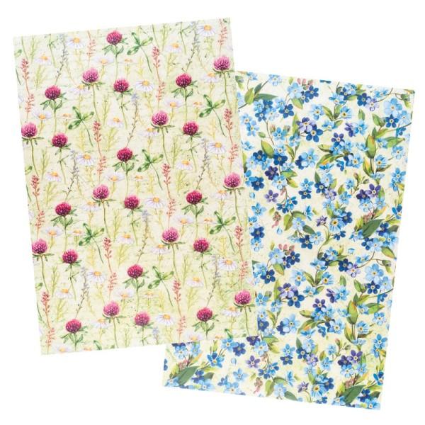 Reispapiere, Blüten 13, DIN A4, 30g/m², 2 verschiedene Designs