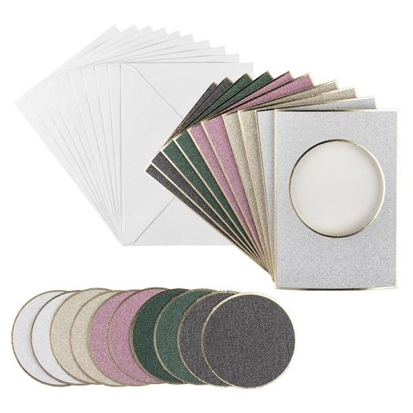 3-Fach-Grußkarten, Passepartout, Kreis, B6, 5 versch. Farben, inkl. Umschläge, 10 Stück